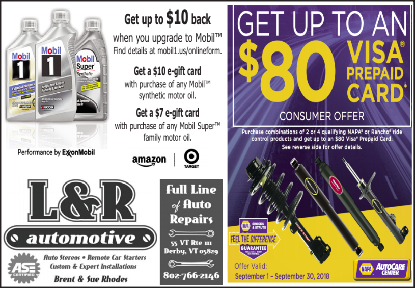 Mobil1 Us Onlineform >> September Promotion L R Automotive Derby Vermont